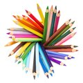 Various colorful pencils in holder isolated on white background Royalty Free Stock Photo