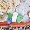 Various colorful remains polished by the sea Royalty Free Stock Photo