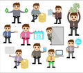 Various concepts poses office and business cartoon character vector illustration drawing art of businessman characters with Stock Photos