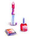 Various cosmetics original watercolor illustration Royalty Free Stock Image