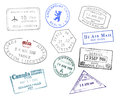 Various countries passport stamps on white background Stock Photography