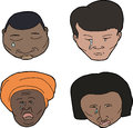 Various crying people set of african asian and hispanic Royalty Free Stock Photo