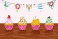 Various cupcakes in party eps illustration of this illustration contains transparency effect transparency effect are used shadows Stock Images