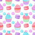 Various cute bright colorful blue, pink and purple desserts. Seamless vector pattern on white background. Royalty Free Stock Photo