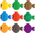 Various cute fishes collection on white background Stock Photo