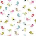 Various cute little birds with singing beaks. Colorful birds seamless pattern. White background