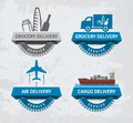 Various delivery labels four service badges for different occasions vector contains transparent objects Stock Images