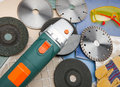 Various diamond a disk for are sharp construction materials and cutting machine the detachable disks Royalty Free Stock Photos