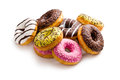 Various donuts on white background Stock Images