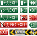 Various exit signs Royalty Free Stock Images