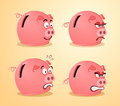 Various expression of piggybank in pose and Stock Photo