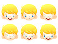 Various facial expressions of kids emotion character design ser series Stock Photography
