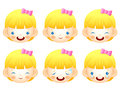 Various facial expressions of kids emotion character design ser series Royalty Free Stock Photos