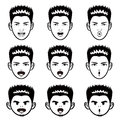 Various facial expressions man face mascot sets emotion character design series Royalty Free Stock Photos