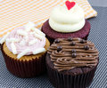 Various fancy cupcakes three with different toppings Royalty Free Stock Photo