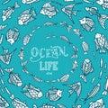 Vector ocean underwater life background.