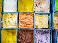 Various flavours of colourful ice cream bars for sale Royalty Free Stock Photo