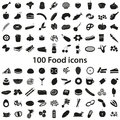 100 various food and drink black icons set