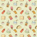 Various food and drink seamless background in kawaii style vector