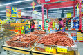 Various food in supermarket china chinese sausage and other for sale a spring festival guangxi Royalty Free Stock Photography