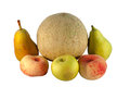 Various fresh fruit summer apple melon pears and peaches on white background Stock Images