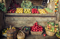Various fresh fruits in the wicker baskets and crates, fruit mar Royalty Free Stock Photo