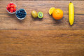Various fruit arrange on the table space for text Stock Photography