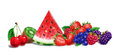 Various fruit composition at white background airbrush illustration strawberry raspberry cranberry cherry watermelon kiwi with Stock Photography