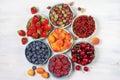 Various fruits in bowls fresh on white wooden background strawberries blueberries raspberries cherries red currants gooseberries Royalty Free Stock Image