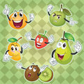 Various fruits illustration of green checkered background Stock Photo