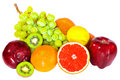 Various fruits isolated on the white background Stock Photos