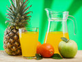 Various fruits and juice variety of fruit on a wooden table Stock Photos