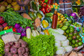 Various fruits at local market in sri lanka and vegetables Stock Photos