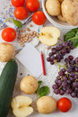 Various fruits and vegetables on a table Royalty Free Stock Photography