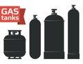 Various gas tanks sihlouette icons set.
