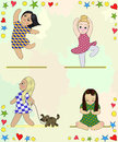 Various girls in dresses fun Royalty Free Stock Photos