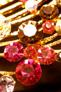 Various gold jewellery closeup Royalty Free Stock Photo
