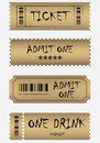 Various golden ticket set Royalty Free Stock Photos