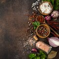 various herbs and spices on dark background. Royalty Free Stock Photo