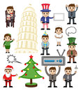 Various Holiday and Business Cartoon People Royalty Free Stock Photo