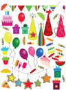 Various holiday new year christmas birthday objects vector illustrations of fun Royalty Free Stock Image