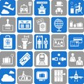 Various icons related to travel transportation airports flying Stock Image