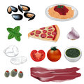 Various italian food vector color illustration Stock Photography