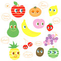 Various kinds of fruit speaking characters set Stock Image