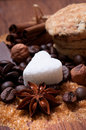 Various kinds of sugar nuts and coffee beans Stock Photo