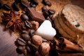 Various kinds of sugar nuts and coffee beans Stock Images