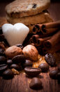 Various kinds of sugar nuts and coffee beans Stock Image