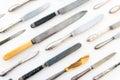 Various knifes on white background , knife set Royalty Free Stock Photo
