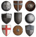 Various knight shields set isolated 3d illustration Royalty Free Stock Photo