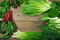 Various leafy vegetables Royalty Free Stock Photo